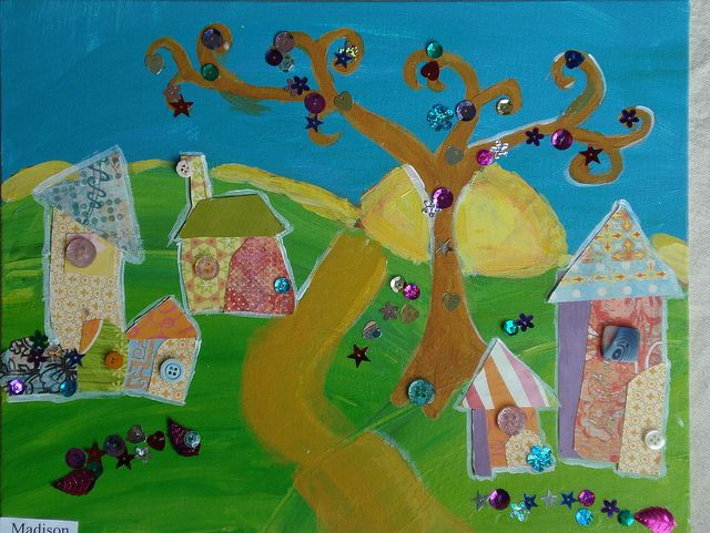 Karla Garad inspiration  gr. 2-3 work shows depth, wiggly buildings and swirly trees
