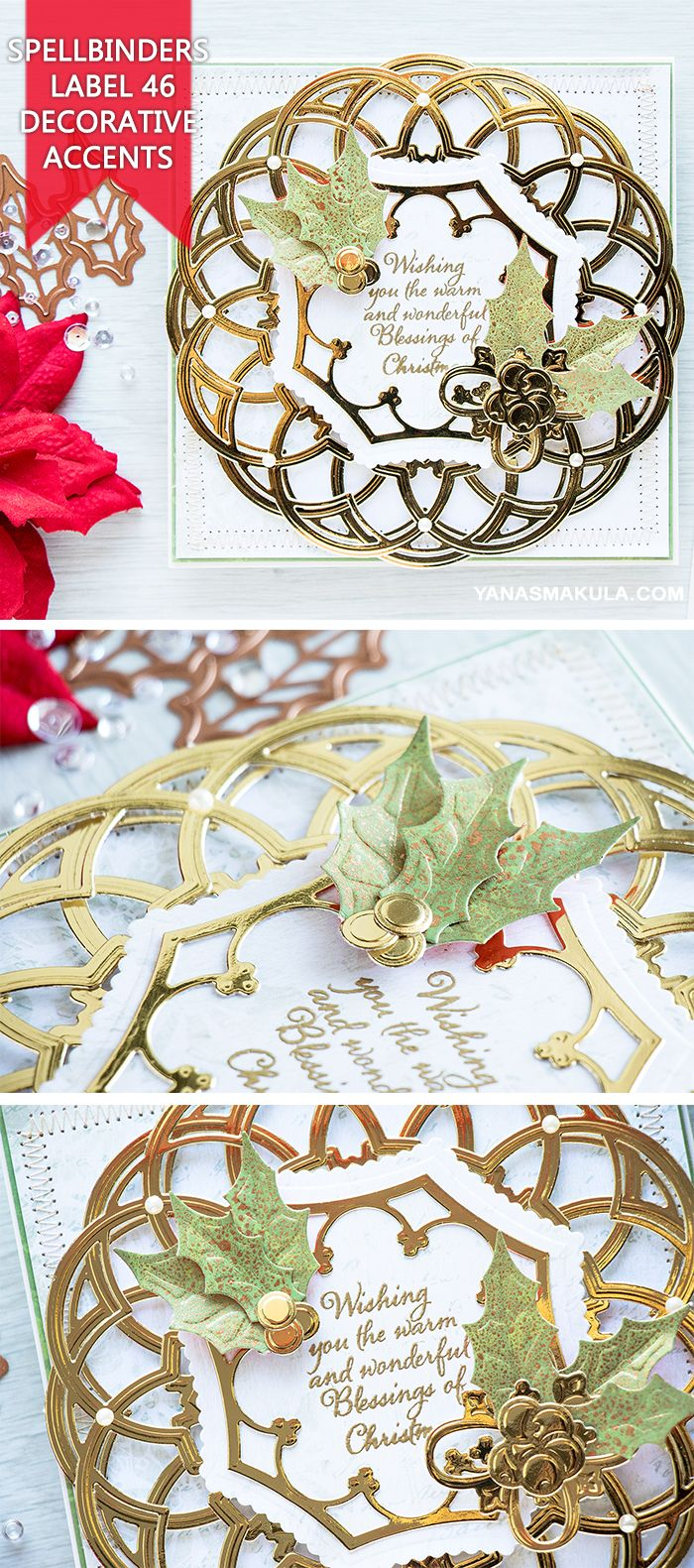 Create classic Christmas card with Spellbinders Label 46 Decorative Accents dies. For details and video tutorial, visit http://www.yanasmakula.com/?p=55805