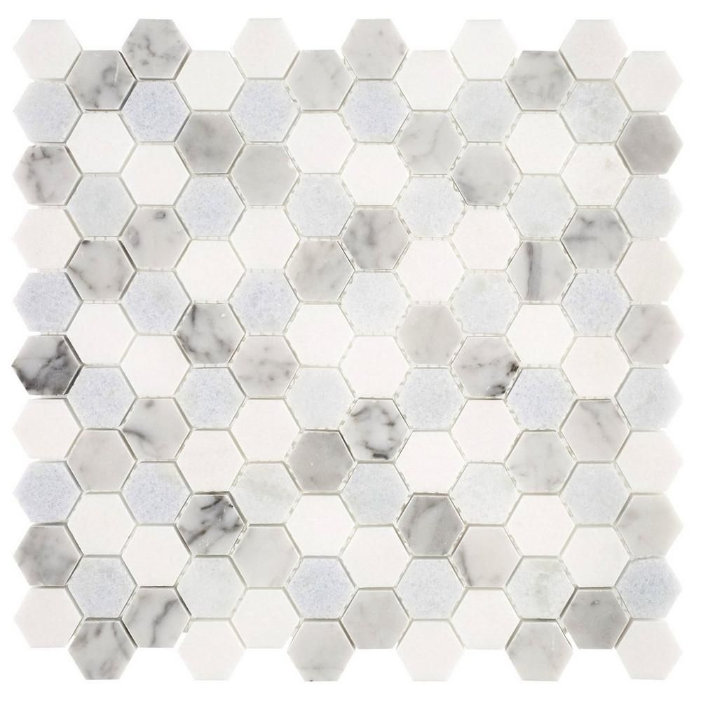 Blue Celeste Bianco Carrara And Thassos Mosaic Hexagon Tiles White Tile Floor Tiles