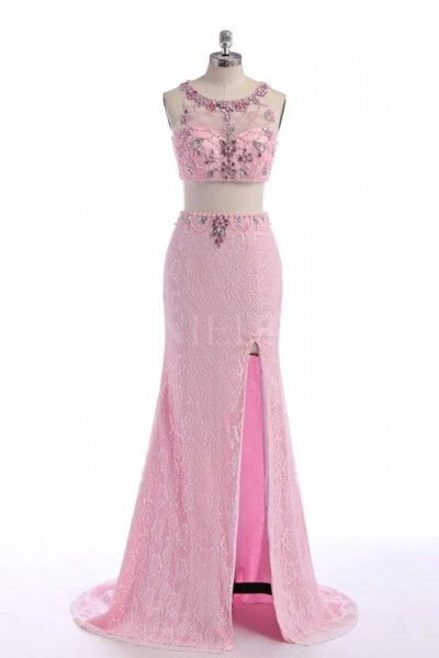 Pink 2 Piece Mermaid Lace Prom Dress With Spilt Front