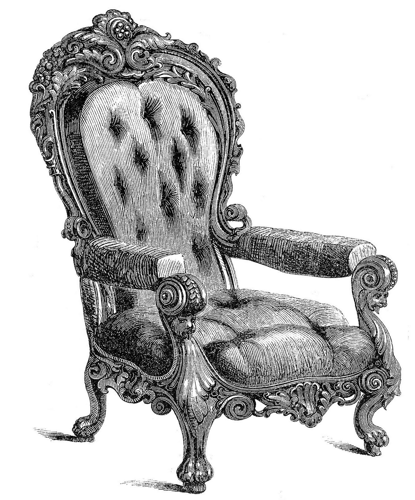 Antique chairs design - Vintage Clip Art 2 Fancy Chairs The Graphics Fairy