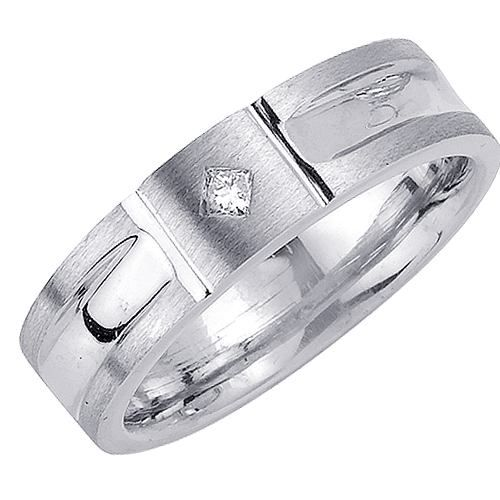 14k White Gold Unique Design Satin Diamond Wedding Band 0 07ct Gh Vs