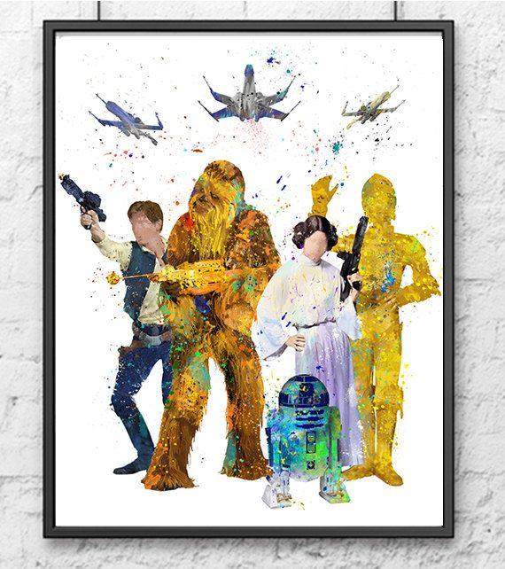 Star Wars Han Solo Chewbacca Princess Leia R2d2 C3po Etsy Star Wars Art Print Star Wars Art Star Wars Nursery