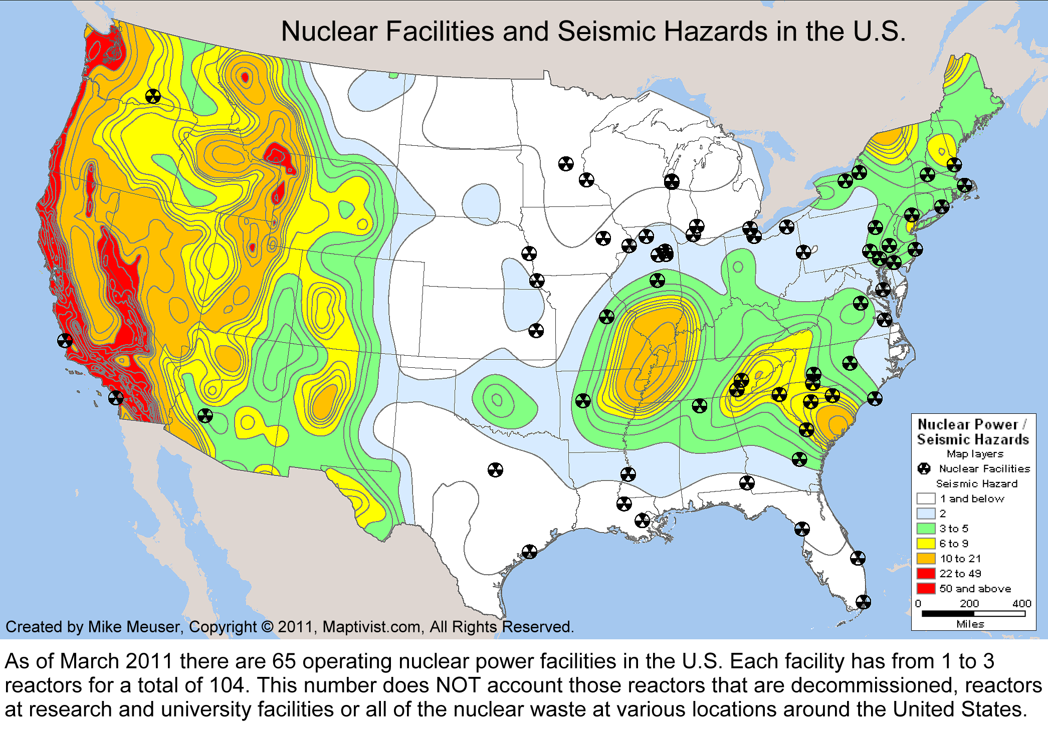Maps US Natural Disaster Risk Population Density And Nuclear - Us nuclear plant meltdown map