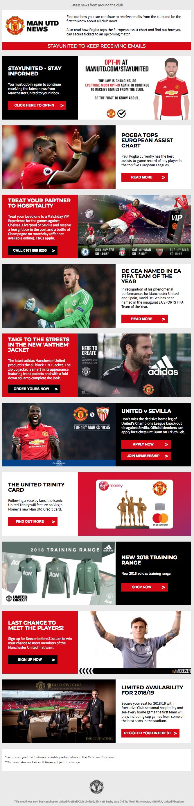 Manutd Are Getting Ready For Gdpr By Adding A Strong Opt In Call To Action At The Top Of Their Newsl Email Design Inspiration Email Marketing Design The Unit