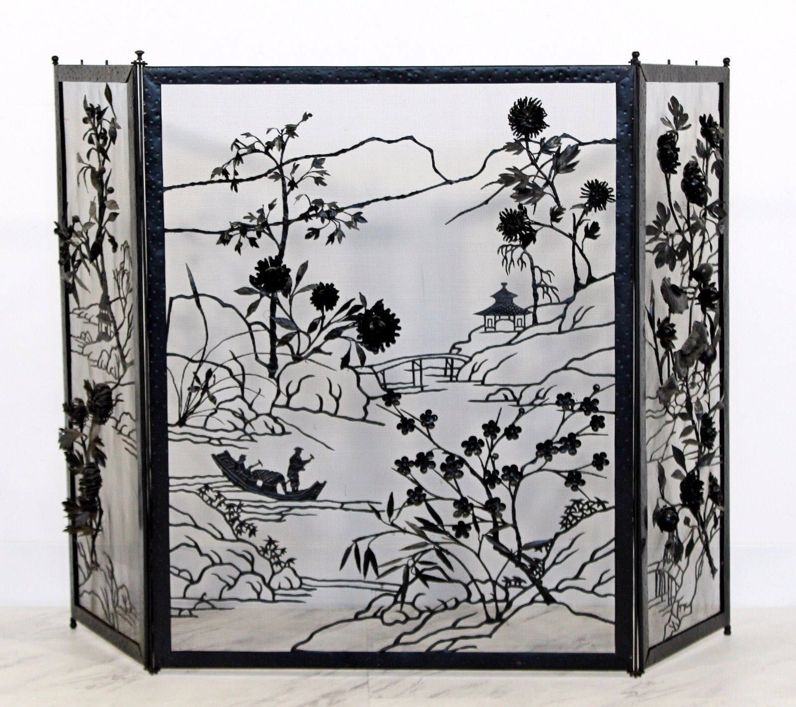 Art Deco Asian Black Painted Steel & Brass Fireplace Screen 1940s Floral by LeShoppe05 on Etsy https://www.etsy.com/listing/561201979/art-deco-asian-black-painted-steel-brass