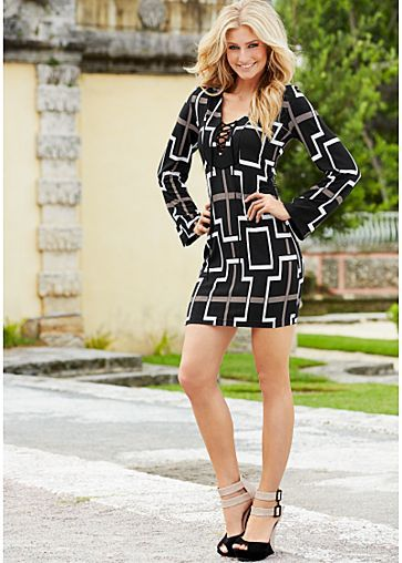 Lace up print dress