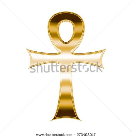 Ankh Symbol With Shiny Gold Metallic Texture Cross With A Round