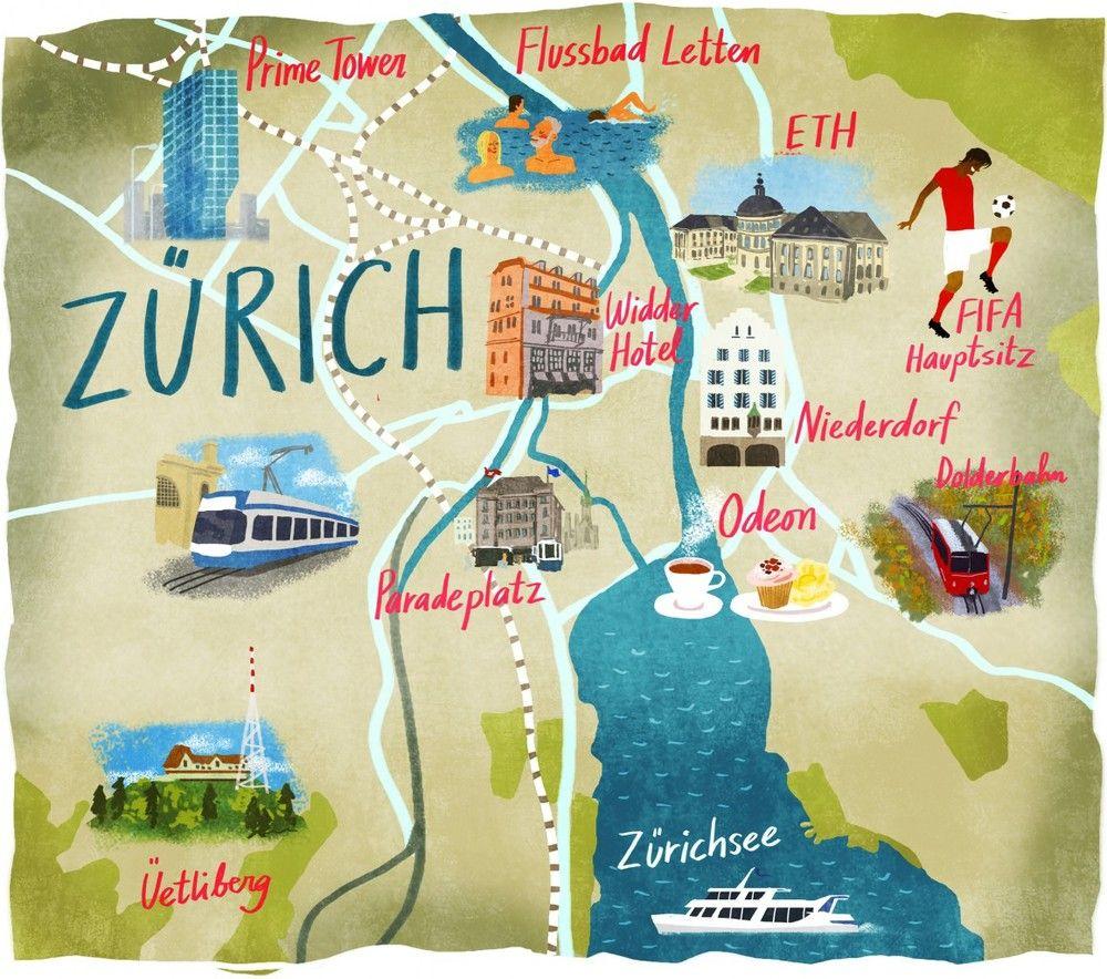 ZURICH Map illustrated by Dermot Flynn dutchuncle