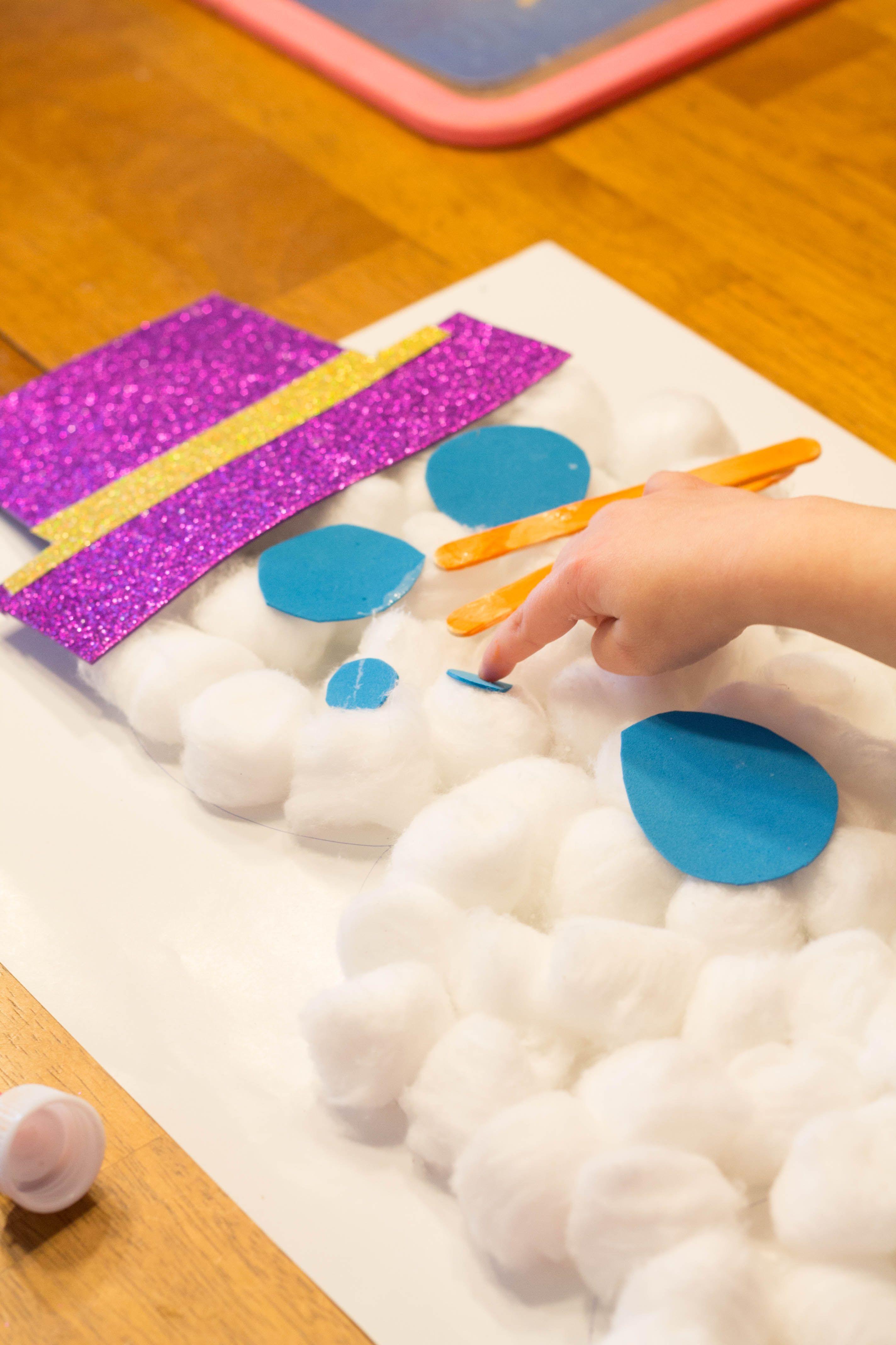 Cotton Ball Snowman Craft-Love, Play, Learn