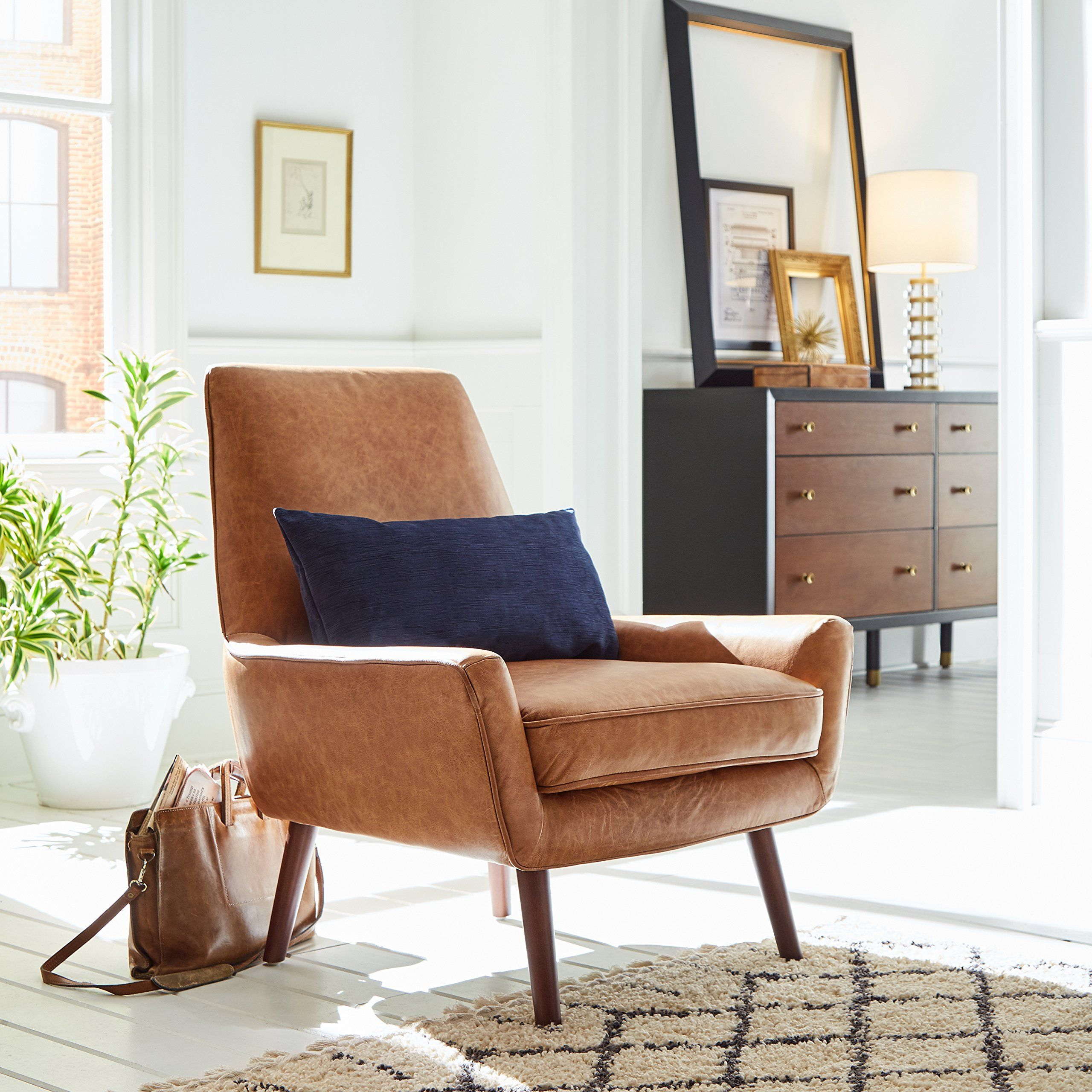 Amazing Rivet Jamie Midcentury Leather Low Arm Accent Chair 31 W Ibusinesslaw Wood Chair Design Ideas Ibusinesslaworg