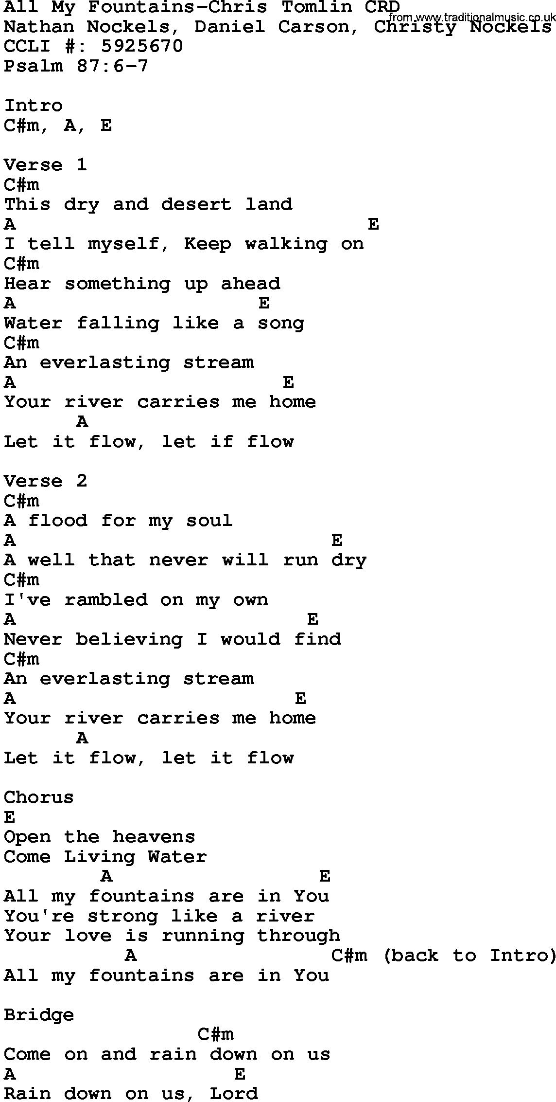 How I Love You Chords Christy Nockels — TTCT