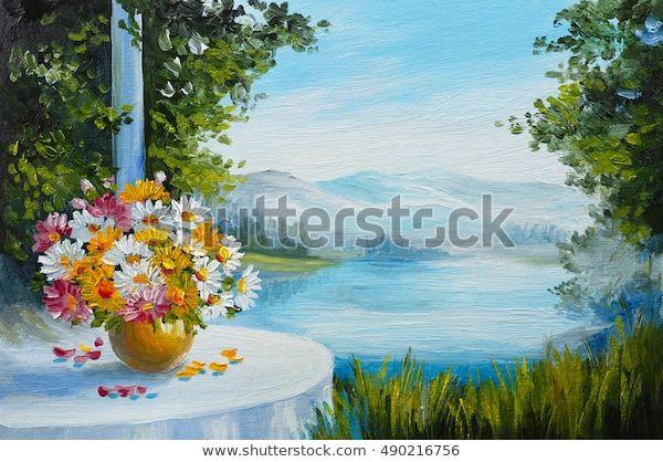 Ölmalerei - Haus in Meeresnähe, bunte Blumen, Sommersaison