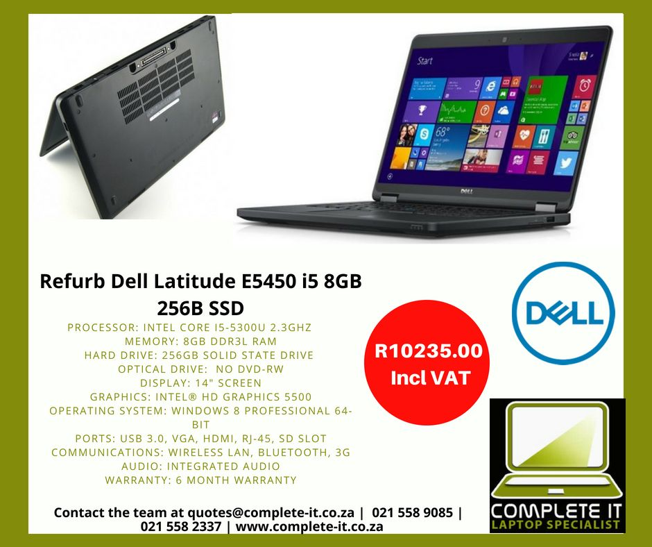 Refurb Dell Latitude E5450 i5 8GB 256B SSD R9085 00 Incl Vat