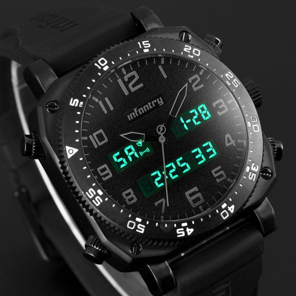 Infantry mens lcd digital quartz wrist watch chronograph