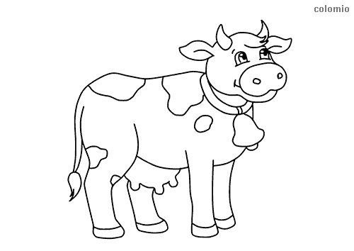 Cute Cow With Horns And Bell Coloring Page Cow Coloring Pages Animal Coloring Pages Coloring Pages