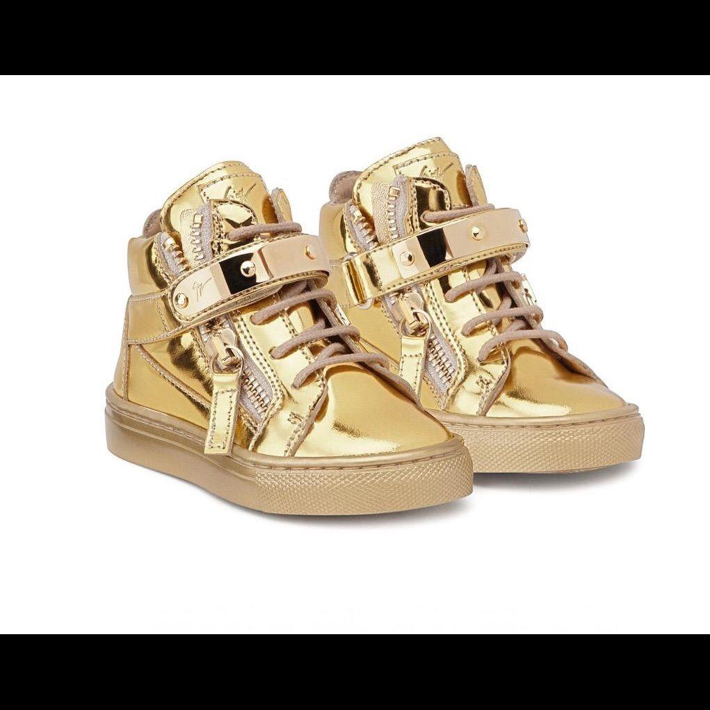 Giuseppe metallic leather junior vegas sneakers   Kids gold