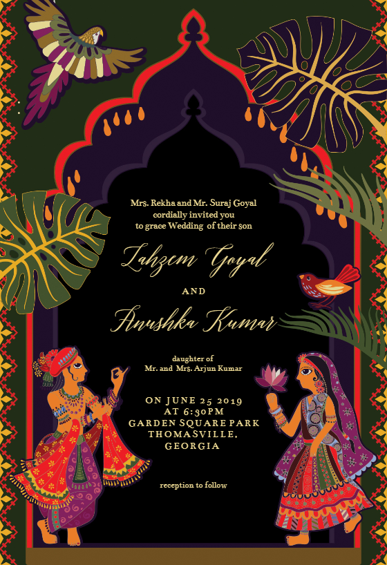 Indian lovers Wedding Invitation Template (free