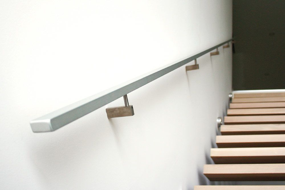 Wall Mount Handrails Solid Aluminum Handrails   Modern Stair Handrail Wall Mounted
