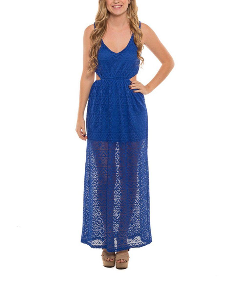 Take a look at this royal blue sheer geometric maxi dress today