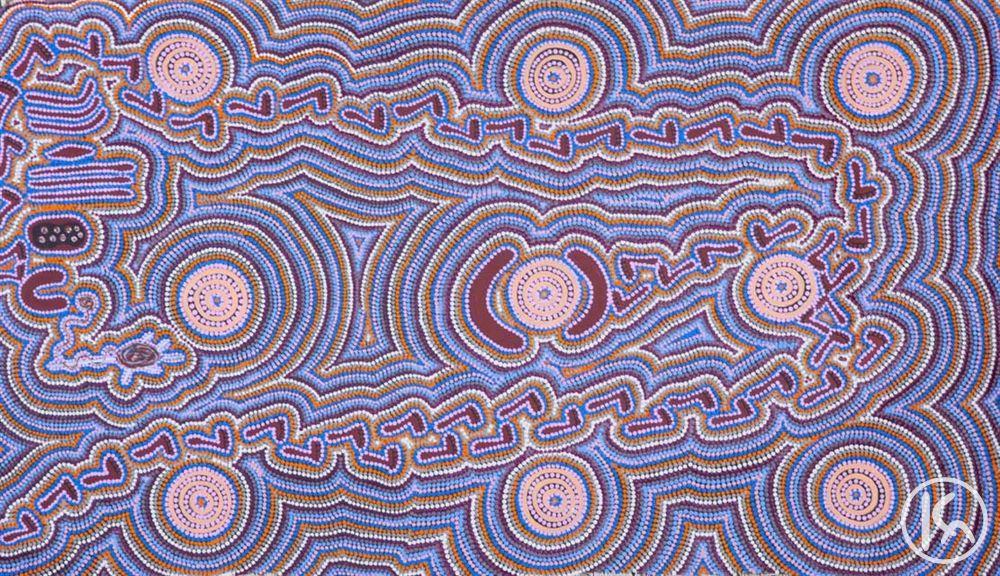 """Old Man Dreaming"" by Dadu Gorey Nungarrayi 155cm x 75cm $1,650 http://www.aboriginalartstore.com.au/artists/dadu-gorey-nungarrayi/old-man-dreaming-(14012549)/"