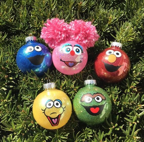 Set Of 5 Sesame Street Ornament Sesame Place Personalized Glitter Ornaments Abc Child C Kids Christmas Ornaments Christmas Ornaments Sesame Street Christmas