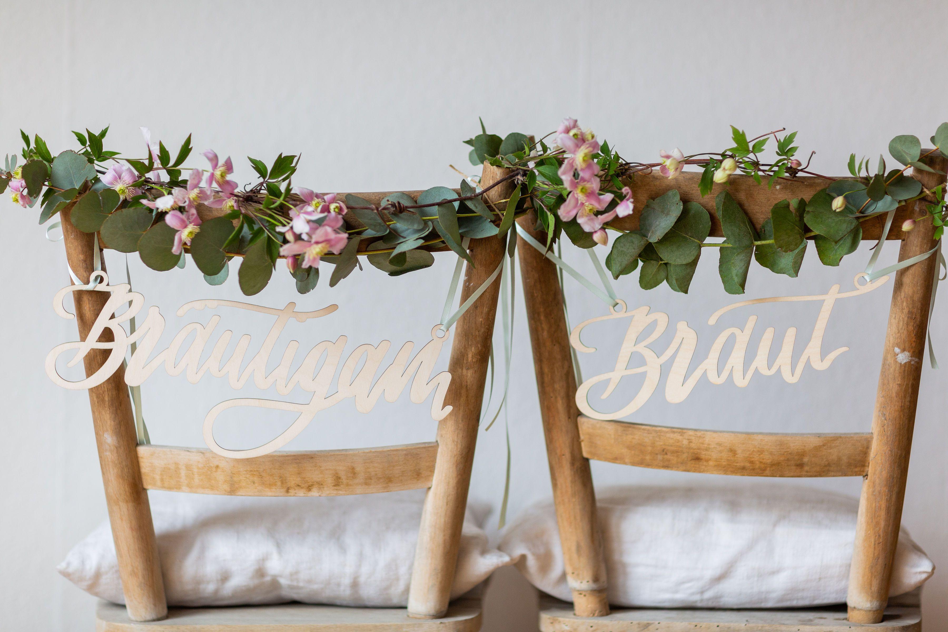 Stuhlschilder Braut Bräutigam für Hochzeit › Hochzeitsdekoration - The Little Wedding Corner Shop
