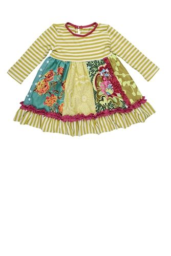 Baby By Persnickety Clothing Emerald Pine Penelope Dress in Multi Fall 2014 D3