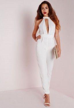 choker split front jumpsuit white | Amber | Pinterest | Jumpsuits ...
