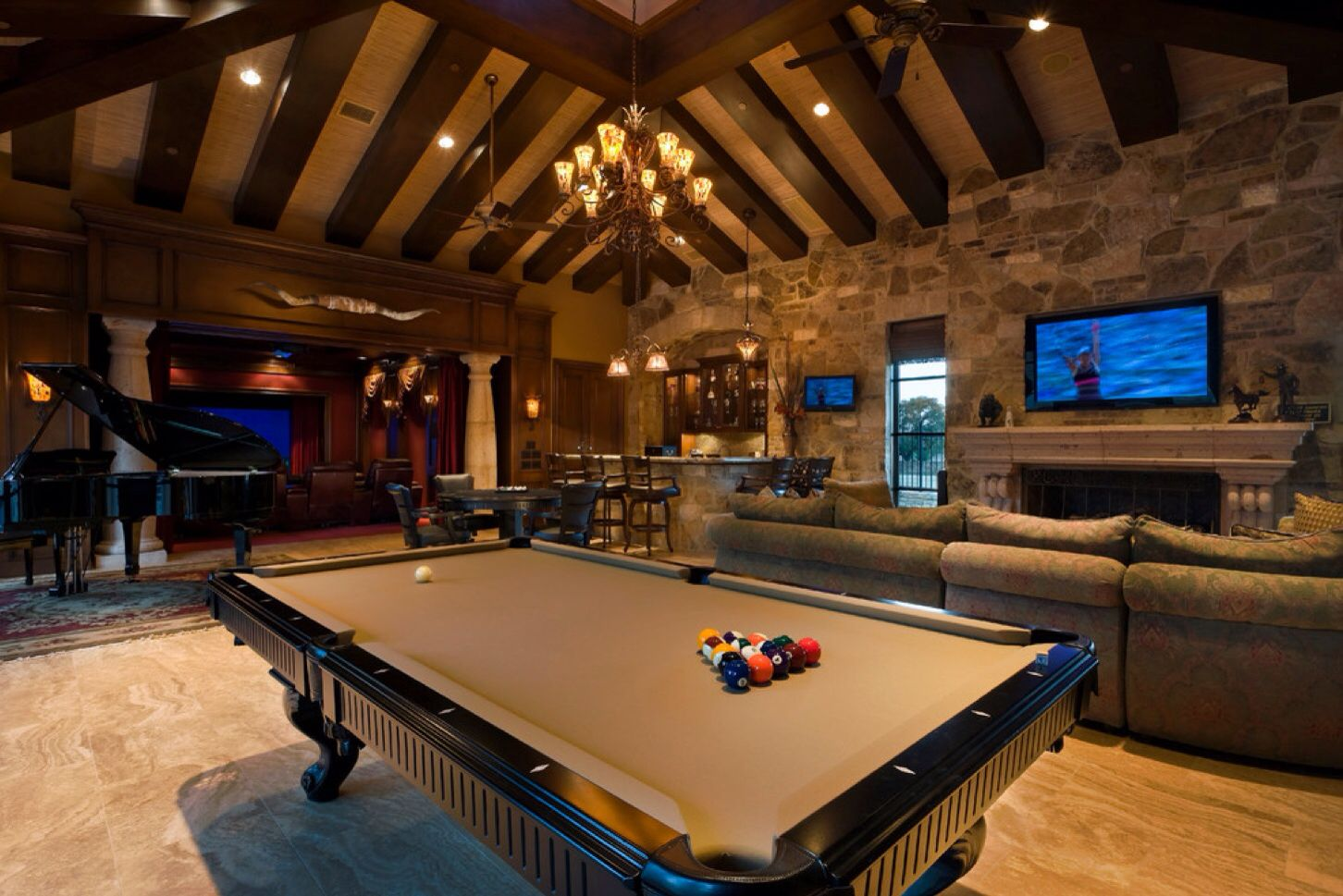 Game room pool table  Home Game Rooms Home Theater Bars