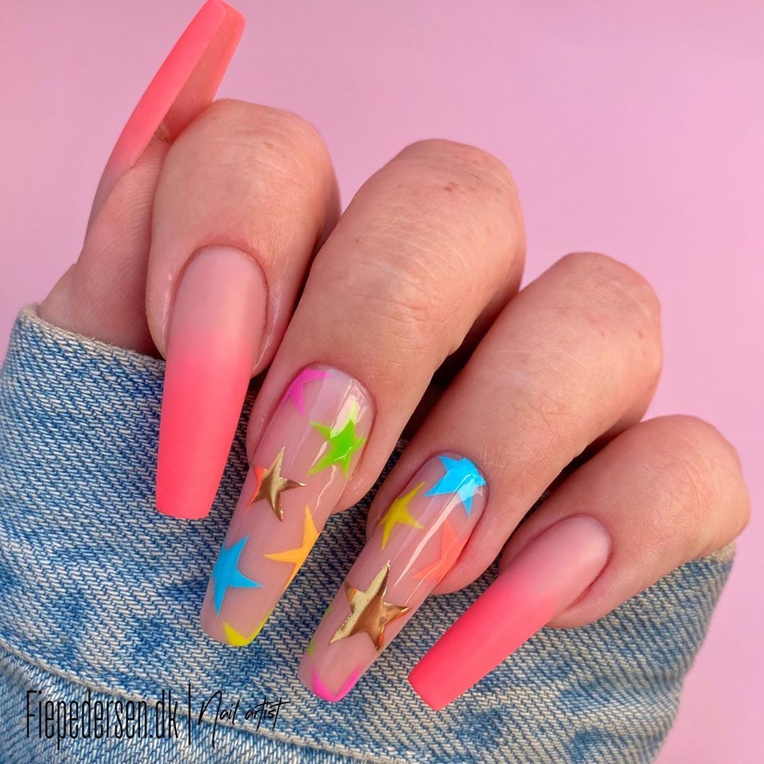 Fie Pedersen On Instagram Reklame Stars Shining Bright Above You Colors From 80 S Lovel In 2020 Star Nail Designs Pretty Acrylic Nails Colorful Nail Designs