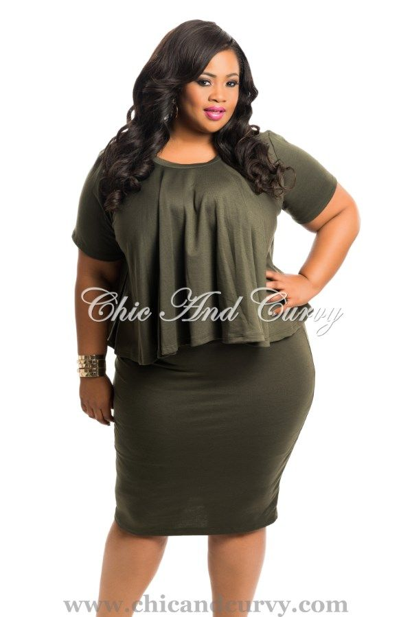 New Arrival  New Plus Size 2 Piece Flowing Top and Pencil Skirt Set in Olive Green  available at: http://www.chicandcurvy.com/newarrivals/product/10419-new-plus-size-body-con-dress-in-green-1x-2x-3x