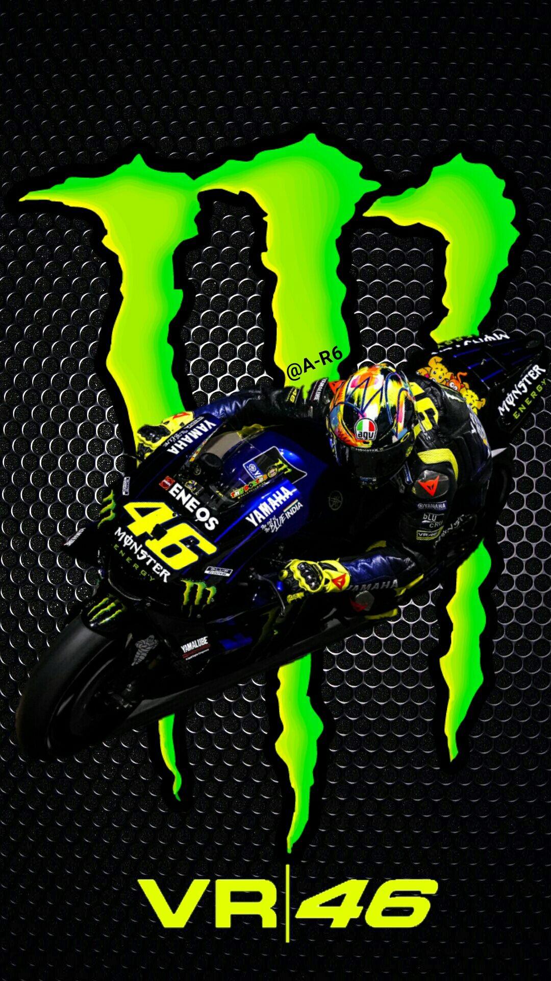 Valentino Rossi Vr46 Monster Energy 2019 Gambar Objek Gambar Seni Rupa