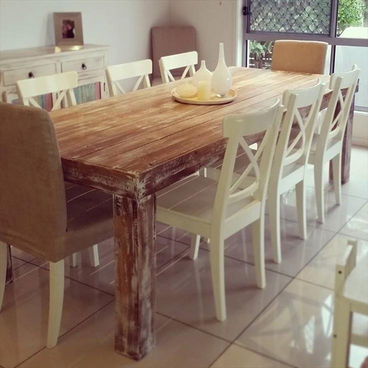 DIY Custom Built Pallet Dining Table Ideas