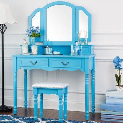 Darby Home Co Felda Elegant Dressing Vanity Set with Mirror in 2018