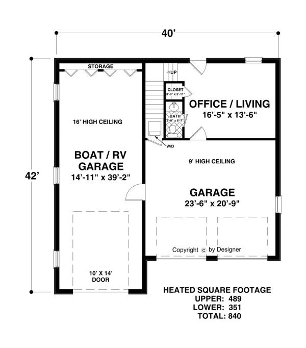 Lower level floorplan image of boat rv garage office house for Rv garage door dimensions