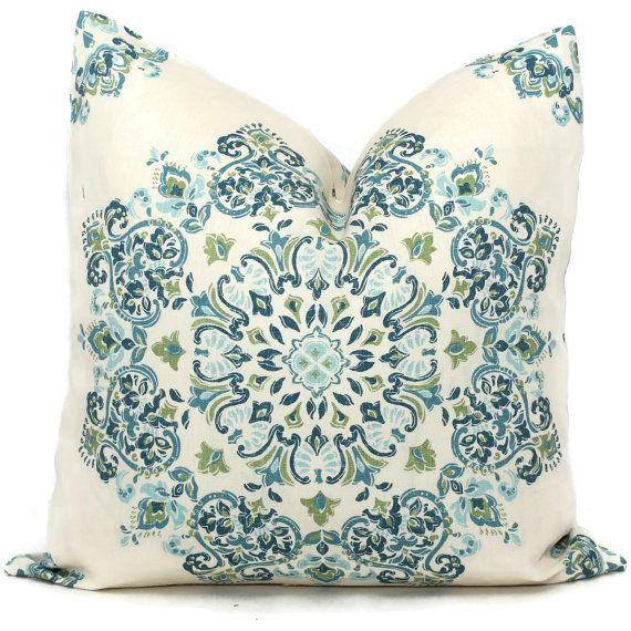 Decorative Pillow Covers Blue Green Aqua Medallion Toss Pillow