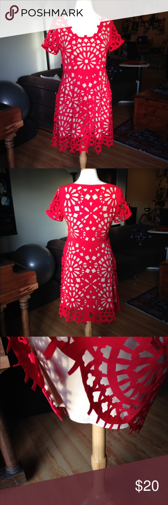 Red cut-out design party dress Super cute red party dress. Double-layered with nude attached lining. Outer red layer is actually cutout (like a paper snowflake). I'm not sure what brand this is because there is no tag. Dresses Mini