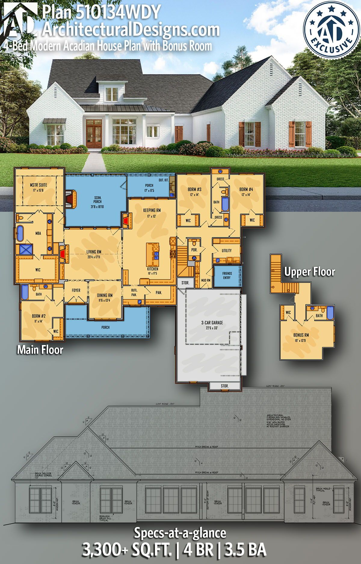 Plan 510134wdy 4 Bed Modern Acadian House Plan With Bonus Room In 2020 Acadian House Plans House Plans House Plans Farmhouse