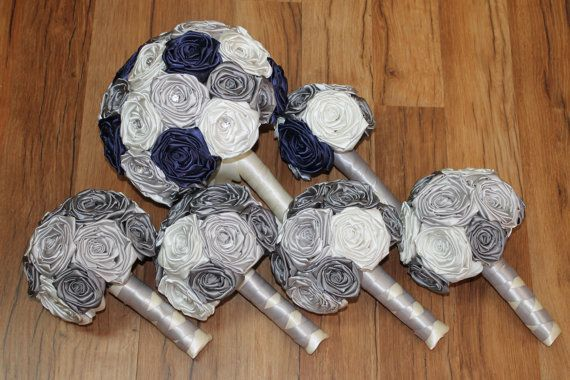 Navy Blue Silver Grey Ivory Bouquet Set By Heybouquet Alternative Bouquets Pinterest Wedding And Weddings