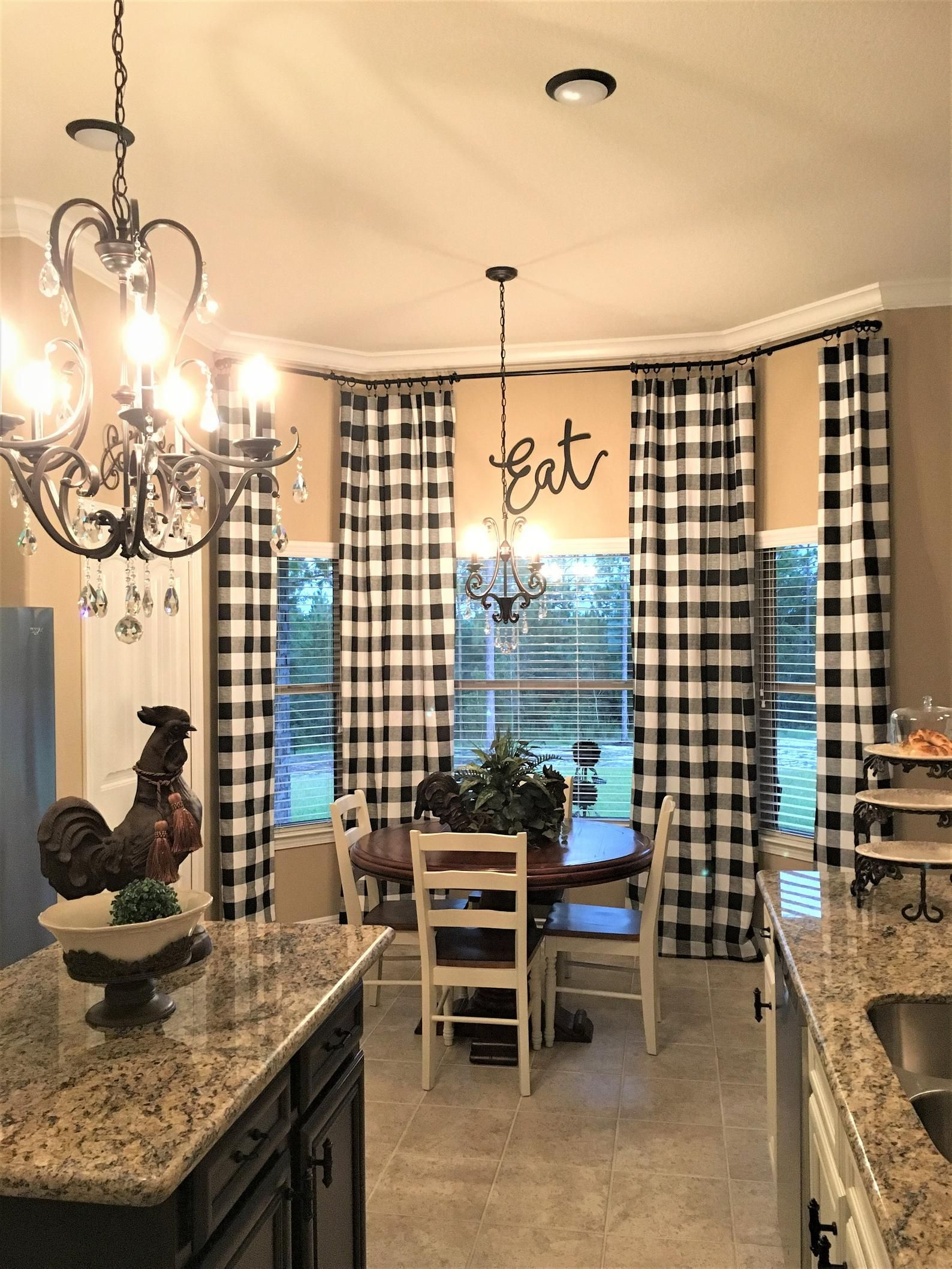 black and cream ivory buffalo check curtains 24 width and 50 width options rod pocket on farmhouse kitchen curtains id=18435