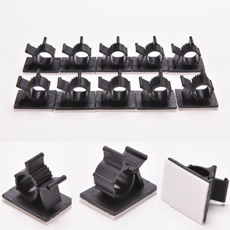 10Pcs/Lot Black Plastic Wire Fixed Clip Car Line Clip Self Adhesive ...