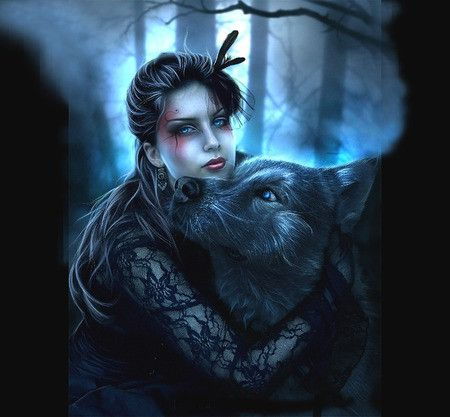 Image result for beautiful witch wolf