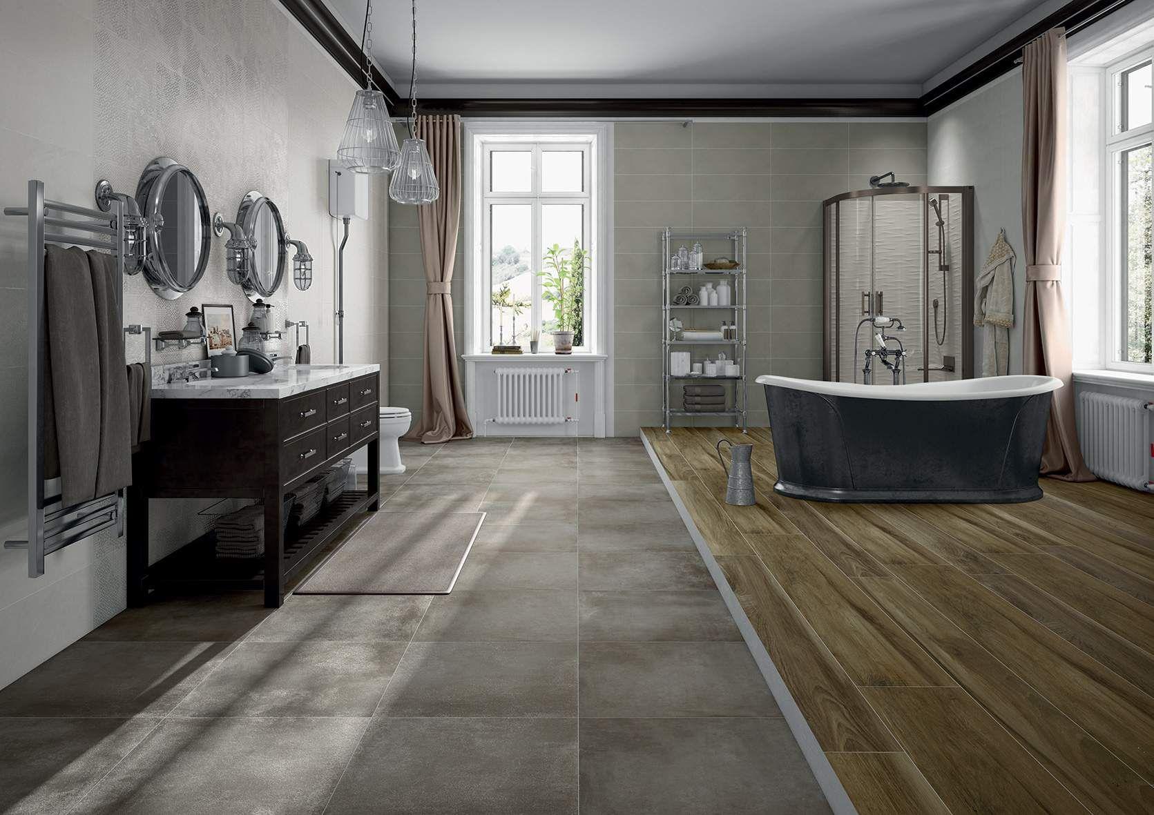 Un bellissimo bagno dal gusto classico e shabby chic. A pavimento ...