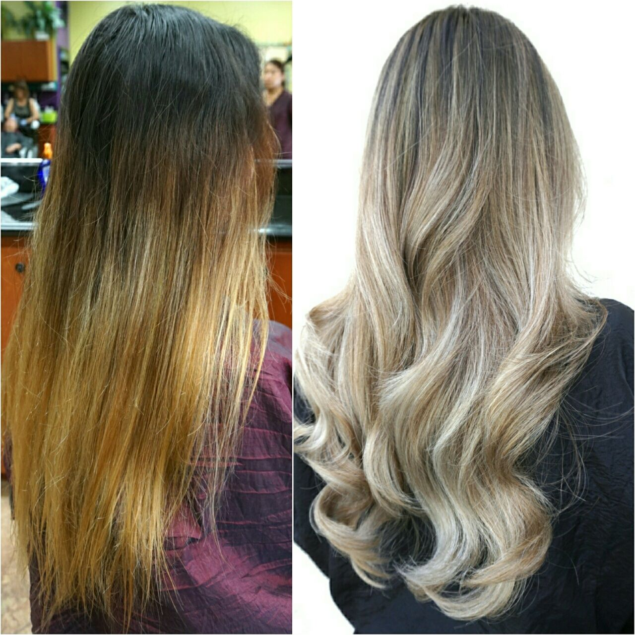 Transformation Banded Old Ombre To Steely Blonde Sombre Grey