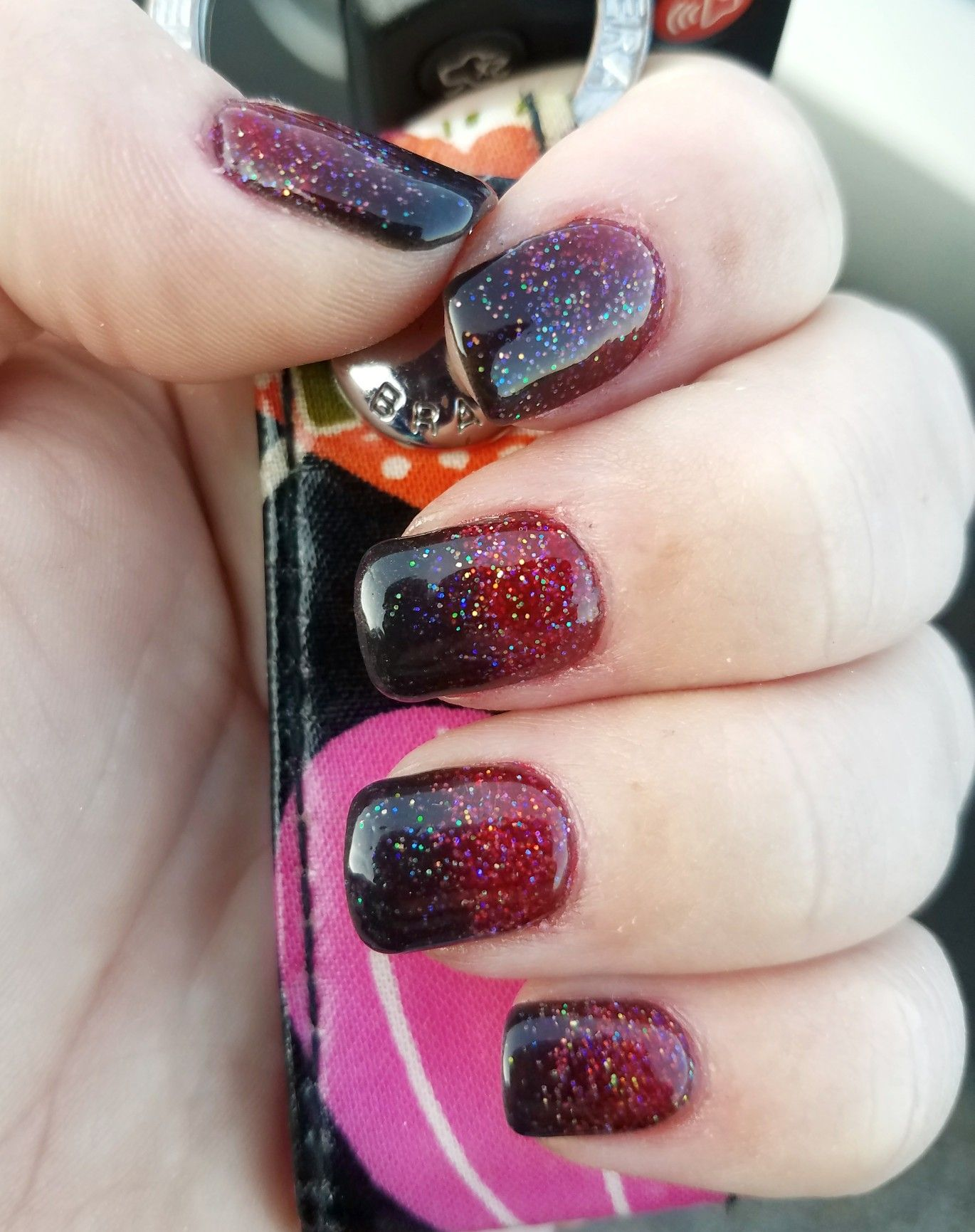 halloween nails ombre black