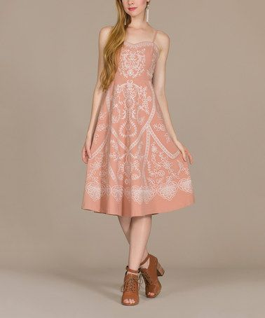 Love this Peach Bloom A-Line Dress by Champagne & Strawberry on #zulily! #zulilyfinds