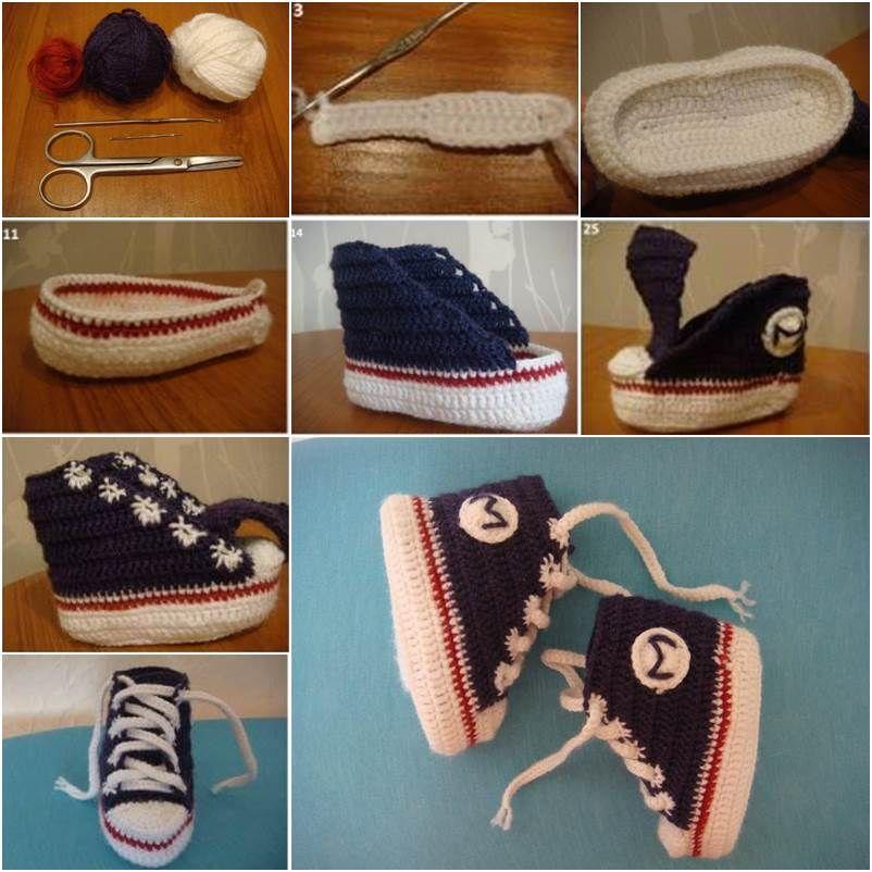 How to DIY Sneaker Style Crochet Baby Booties | Bebé, Patos y Bebe