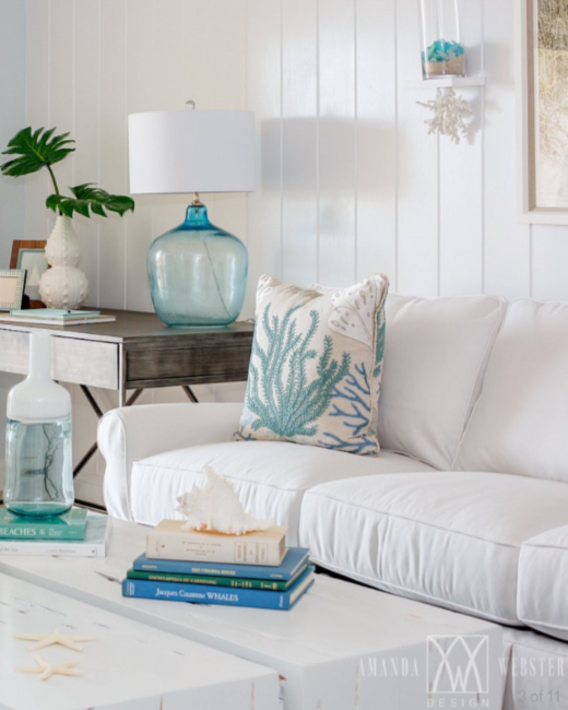 Breezy Condo Living Room Beach Cottage Style | Beach cottage ...