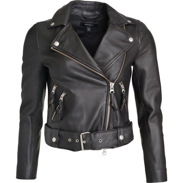 Muubaa Leather biker jacket with zippers ($515) ❤ liked on Polyvore featuring outerwear, jackets, muubaa, moto jacket, leather biker jacket, motorcycle jacket and leather moto jacket